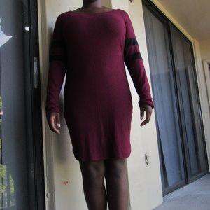 Charlotte Russe Burgundy Long Sleeve Midi Dress